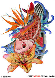 koi fish clipart japanese flower pencil and in color koi fish
