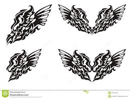 tribal dragon wing and dragon heart with wings stock vector