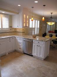 white kitchen cabinets with tile floor floor option with small offset tiles the colors of
