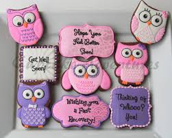 get well soon cookies get well soon owl cookies cookie connection