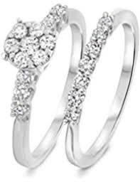 Wedding Ring Trio Sets by Amazon Com My Trio Rings Bridal Sets Wedding U0026 Engagement