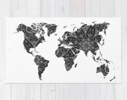 Black And White Floor Rug World Map Rug Etsy