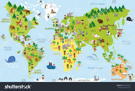 Images Of World Map by Funny Cartoon World Map Children Different Stock Vector 431993542