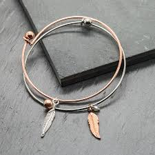 rose gold plated charm bracelet images Rose gold silver feather charm bracelets gift for her by lhg jpg