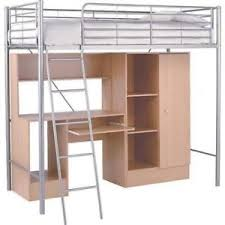 Beech Bed Frame Metal High Sleeper Bed Frame With Wardrobe And Desk Beech Ebay