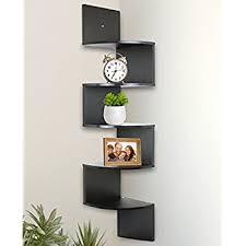 Wall Mount Bookcase Amazon Com Greenco 5 Tier Wall Mount Corner Shelves Espresso