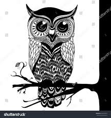 hand drawn owl coloring page stock vector 341804525 shutterstock