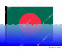 Bangladesi Flag Bangladesh Flag In Flood Stock Illustration I1415950 At Featurepics