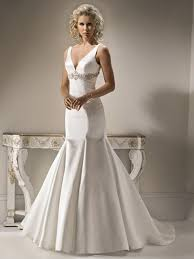 amazing mermaid satin wedding dress with front deep v neck and bow