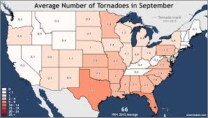Unites States Map by Annual And Monthly Tornado Averages For Each State Maps U S