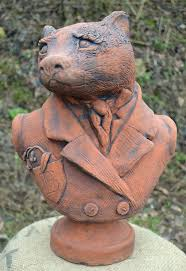 badger garden ornament bust proof statue original