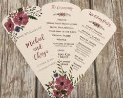petal fan wedding programs petal fan programs etsy
