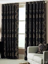 Black And Gold Curtain Fabric Damask Black Gold Heavy Luxury Designer Eyelet Curtain