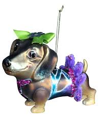 gisela graham glass pug dog cushion glitter christmas tree