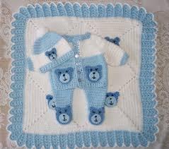 crochet baby boy teddy bear sweater set layette with