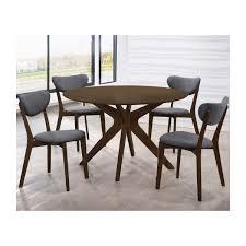 life interiors anton 5 piece dining set walnut modern dining