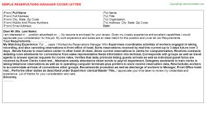 reservations manager cover letter