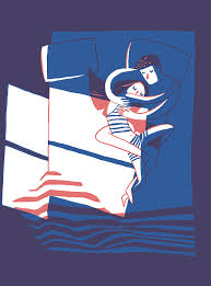 Cuddle In Bed Art Print Couple In Bed Romantic Sweet Cute Giclee