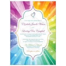 wedding invitations jacksonville fl wedding invitation rainbow colors striped sunbursts heart