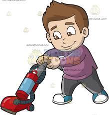 a boy vacuuming the floor cartoon clipart vector toons