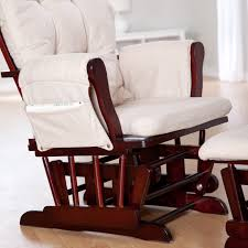 Rocking Chairs Cushions Storkcraft Bowback Glider And Ottoman Set Cherry Beige Hayneedle