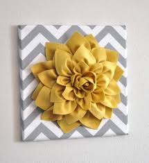 Yellow And Gray Wall Decor by Wall Flower Mellow Yellow Dahlia On Gray And White Chevron 12