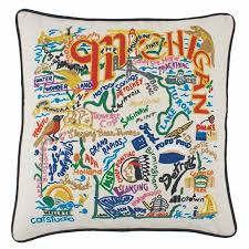 state of michigan embroidered pillow michigan souvenir catstudio