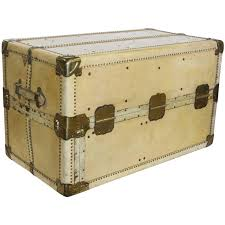 stylish large antique vellum steamer trunk coffee table for sale