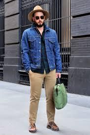 how to wear a denim jacket with khaki chinos men u0027s fashion