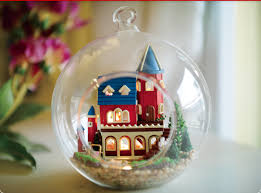 diy miniature house model glass globe ornament