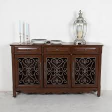 elegant brown color wooden kitchen console curio cabinets features