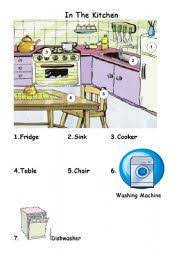 furniture in the kitchen worksheet in the kitchen flashcard