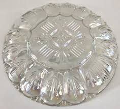 carnival glass egg plate vintage federal glass iridescent clear carnival glass deviled egg