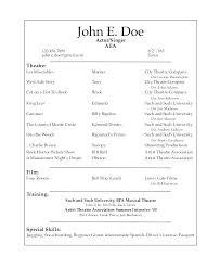 acting resume template actors resume sle resume acting template search beginner