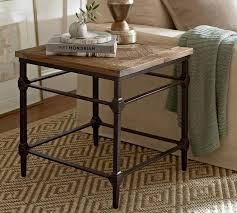 iron and wood side table parquet reclaimed wood side table pottery barn