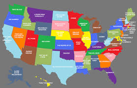 52 States Map by Image Gallery Names 52 States