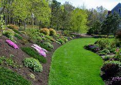 Landscape Design Backyard by Landscaping For Sloping Backyards Colorful Hillside Rock Garden