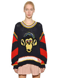 halloween cardigan tommy hilfiger monkey intarsia knit sweater in black lyst