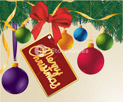 christmas template with decorated pine and balloons vector