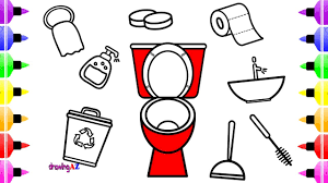 toilet tools coloring book for kids u0026 coloring pages with colored
