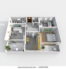 3d interior rendering plan view furnished stock illustration