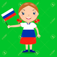 Green Day Flag Smiling Child Holding A Russian Flag Isolated On Green