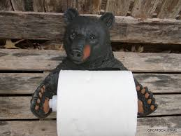 black bear toilet paper holder rustic home cabin bathroom outhouse