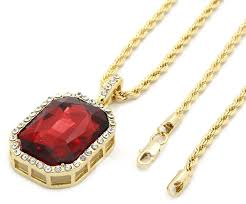 red necklace pendant images Mens 14k gold plated iced out red ruby octagon hip hop pendant jpg