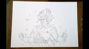 how to draw goku super saiyan blue kaioken x10 sketch part 1