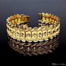 luxury chain bracelet images 18k gold plated men big punk bracelet luxury fine flower design jpg