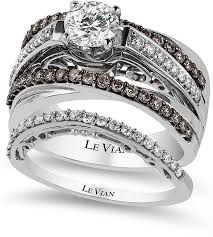 chocolate wedding ring set le vian bridal certified white and chocolate engagement