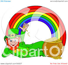 royalty free rf clipart illustration of a reclined leprechaun