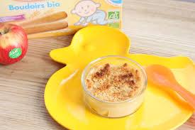 cuisiner pour bébé crumble pommes poires babybio recette à partir de 12 mois