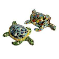 multi coloured mosaic resin turtle garden ornament three designs